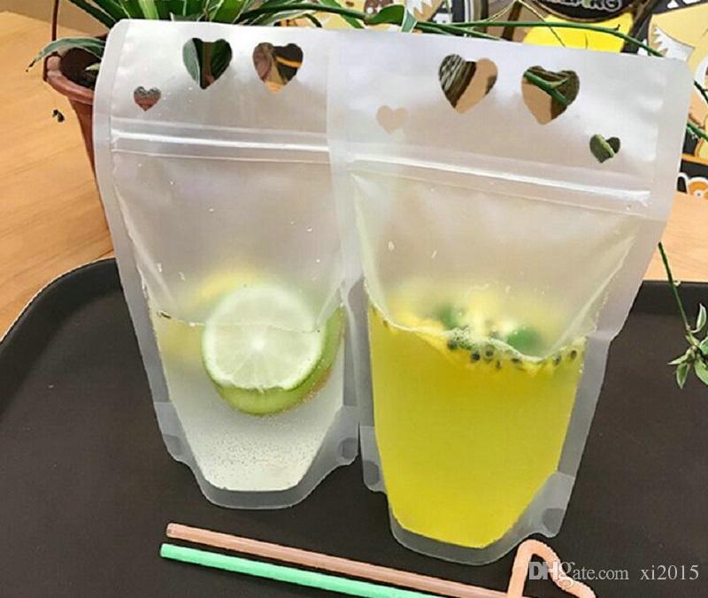 450ml Sacchetto di Bevanda autoadesiva trasparente glassato con fori a forma di cuore Succo di frutta autoportante Bag Spedizione gratuita wen6098