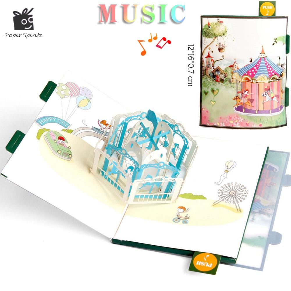Anime Postcards Handmade 3D Pop UP Musical Greeting Cards Happy Birthday Paper With Envelope Gift Message Card For Baby Free Singing