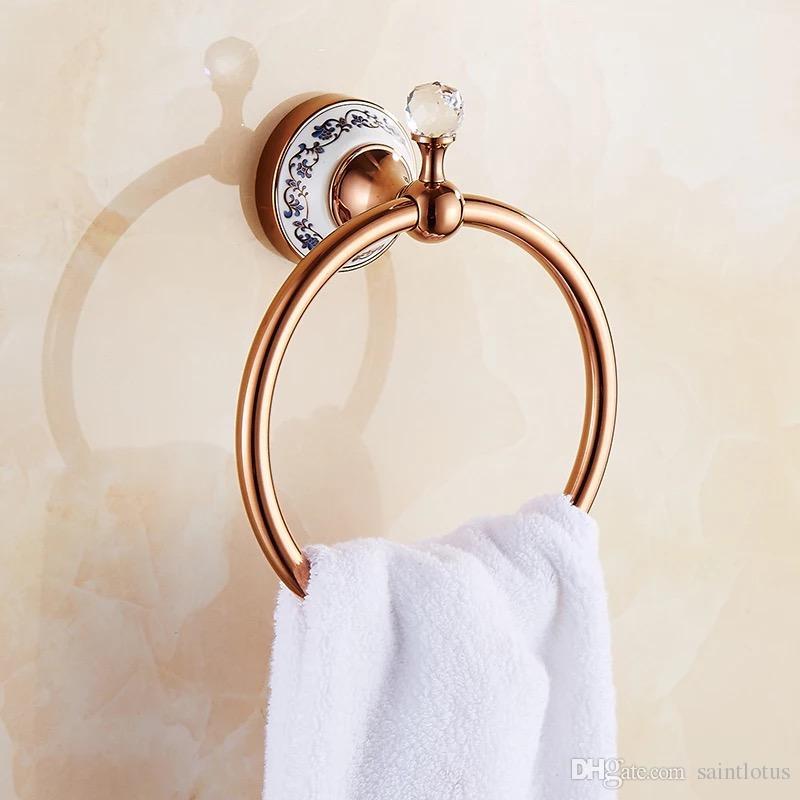Rose god Brass Towel Holder Bath Shelf Towel Rack Hangers Luxury Bathroom Accessories Wall Mounted Towel Bar