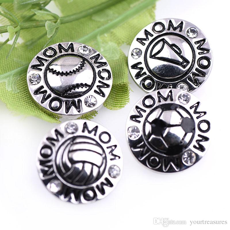 10Pcs New Arrival Mom Snap Jewelry MOM Cheer Sports Metal 18mm Snap Buttons For Snap Bracelets Necklace Jewelry