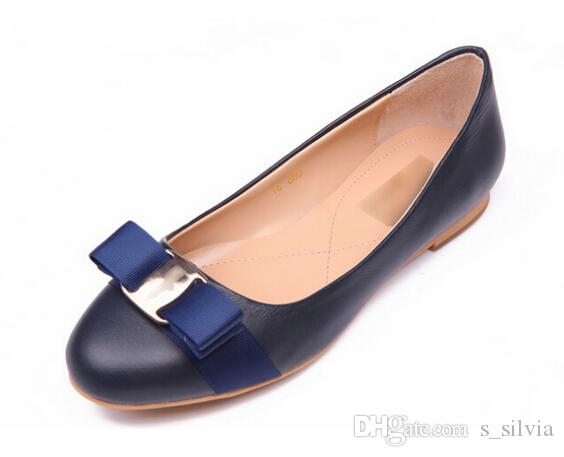 Big Size Newest Women Flats Brand Genuine Leather Ballet Shoes Woman Bow Tie Designer Flats Ladies Zapatos Mujer Sapato Feminino