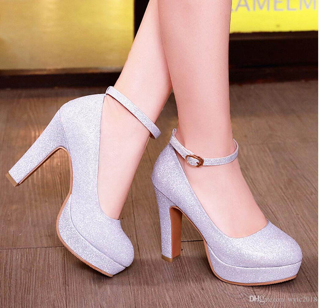 bride shoes crystal wedding shoe with silver high heels wedding dress bridesmaid shoes female 2018 new thick with waterproof