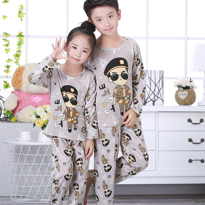 7179df201 Autumn Girls Boys Pajamas Kids Long Sleeved Home Clothes Sets ...
