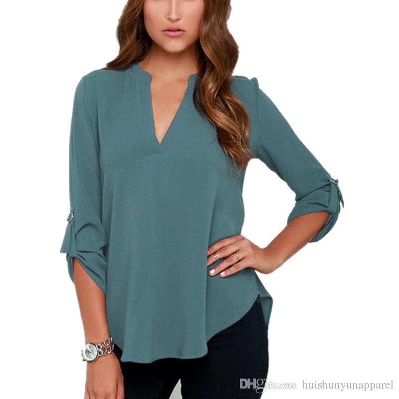 Femmes Mode V Cou Manches Courtes Chemises Femme Fille Casual Lâche Chemisier En Mousseline de Soie Bleu Gris Orange Confortable Vêtements