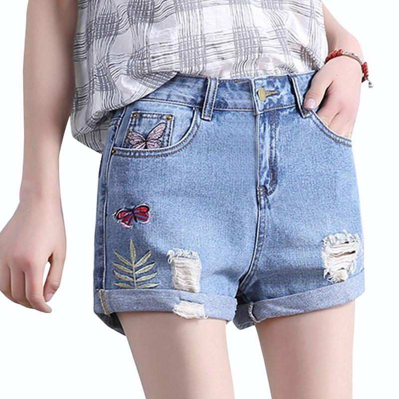 2019 Summer Hole Denim Shorts Women Butterfly Embroidery Mid Waist
