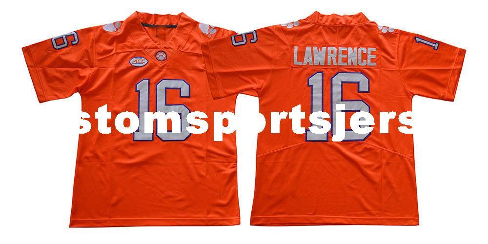 wholesale dealer 35f25 1c58b Cheap custom Trevor Lawrence Jersey #16 Clemson Tigers Football jersey-  Orange Stitched Customize any number name MEN WOMEN YOUTH XS-5XL