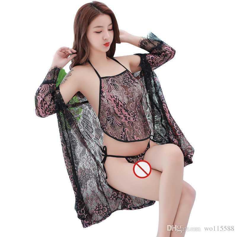 1b6246bdf3d Free Shipping New sexy lingerie cosplay Women s perspective mesh gauze  eyelashes classical pajamas robe apron straps pajamas three-piece. Flash  Sales