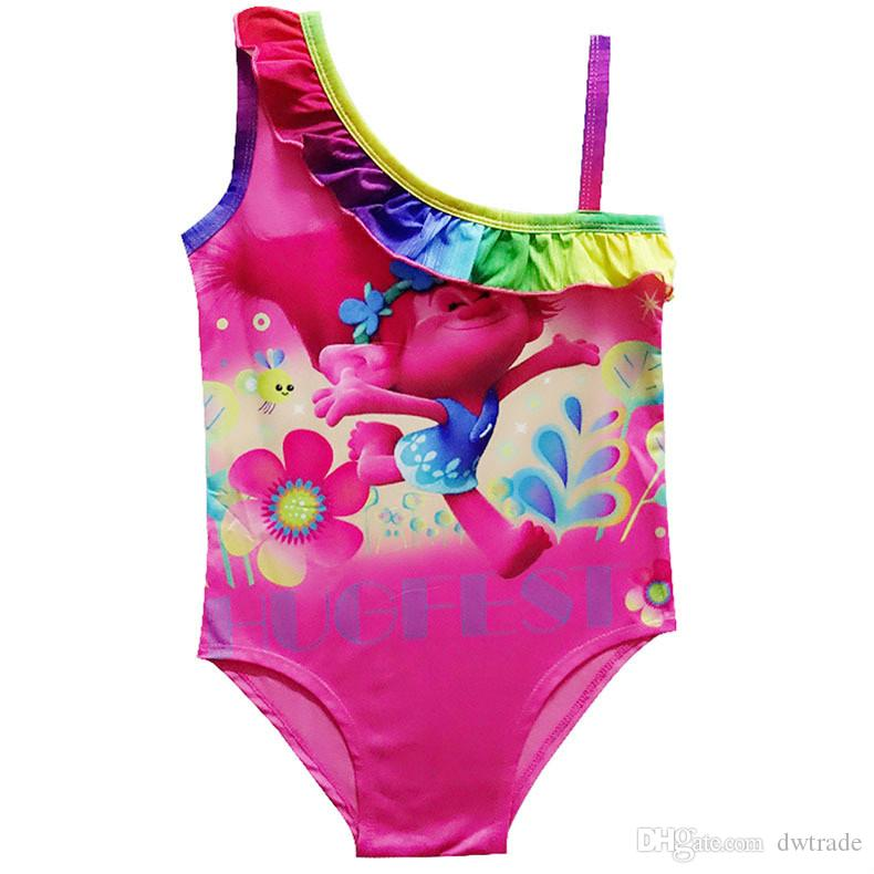 b7a1e50dc9770 2019 INS Hot Trolls Girls One Pieces Swimsuits Summer Bikini Children S  Beach Swim Clothes Children S Pool Bathing Suits 110 140cm From Dwtrade