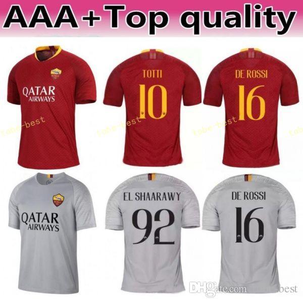 Camiseta De Fútbol FC AS Roma 2018 2019 Hombre Red 1 OLSEN 27 PASTORE 8  PEROTTI 11 KOLAROV 7 Camiseta De Fútbol PELLEGRINI Uniforme Por Tobe Best 899da79ce3b3f