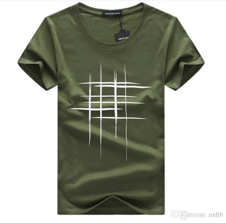 2018 Simple ligne de conception créative croix coton imprimé T-shirts hommes nouvelle arrivée style été manches courtes hommes t-shirt taille S-5XL