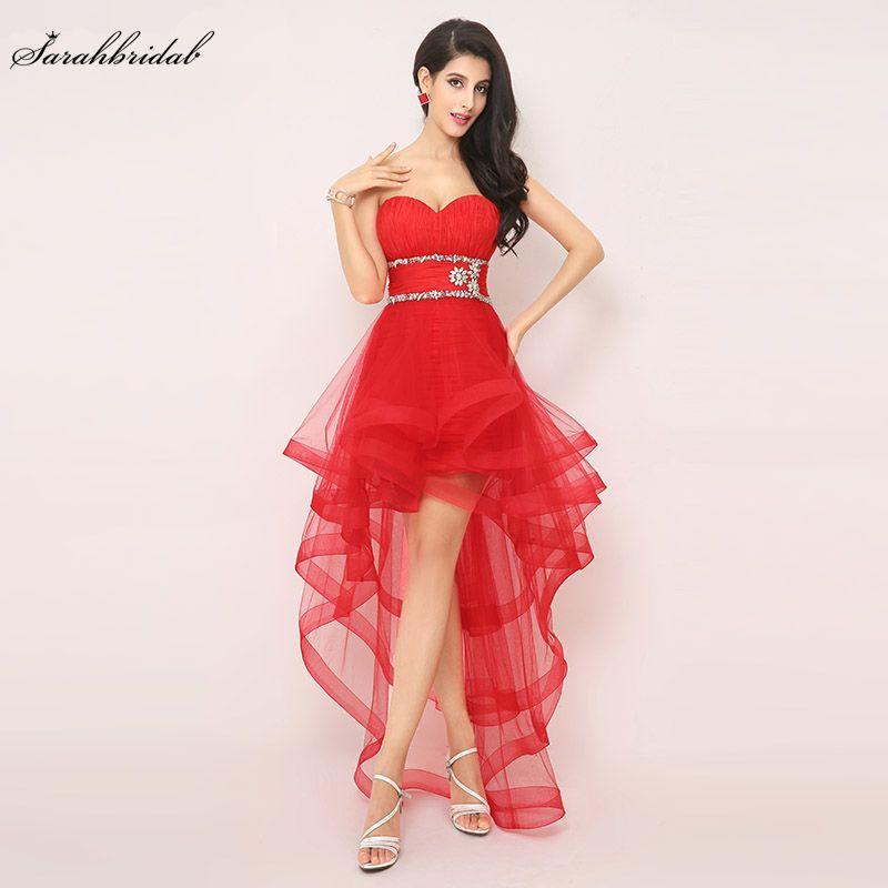 6ed4b52475 Compre En Existencia Alto Bajo Sexy Rojo Vestidos De Baile Vestidos De Tul  Vestidos De Fiesta Vestido De Fiesta Con Cuentas Cintura Plisado Imagen  Real ...
