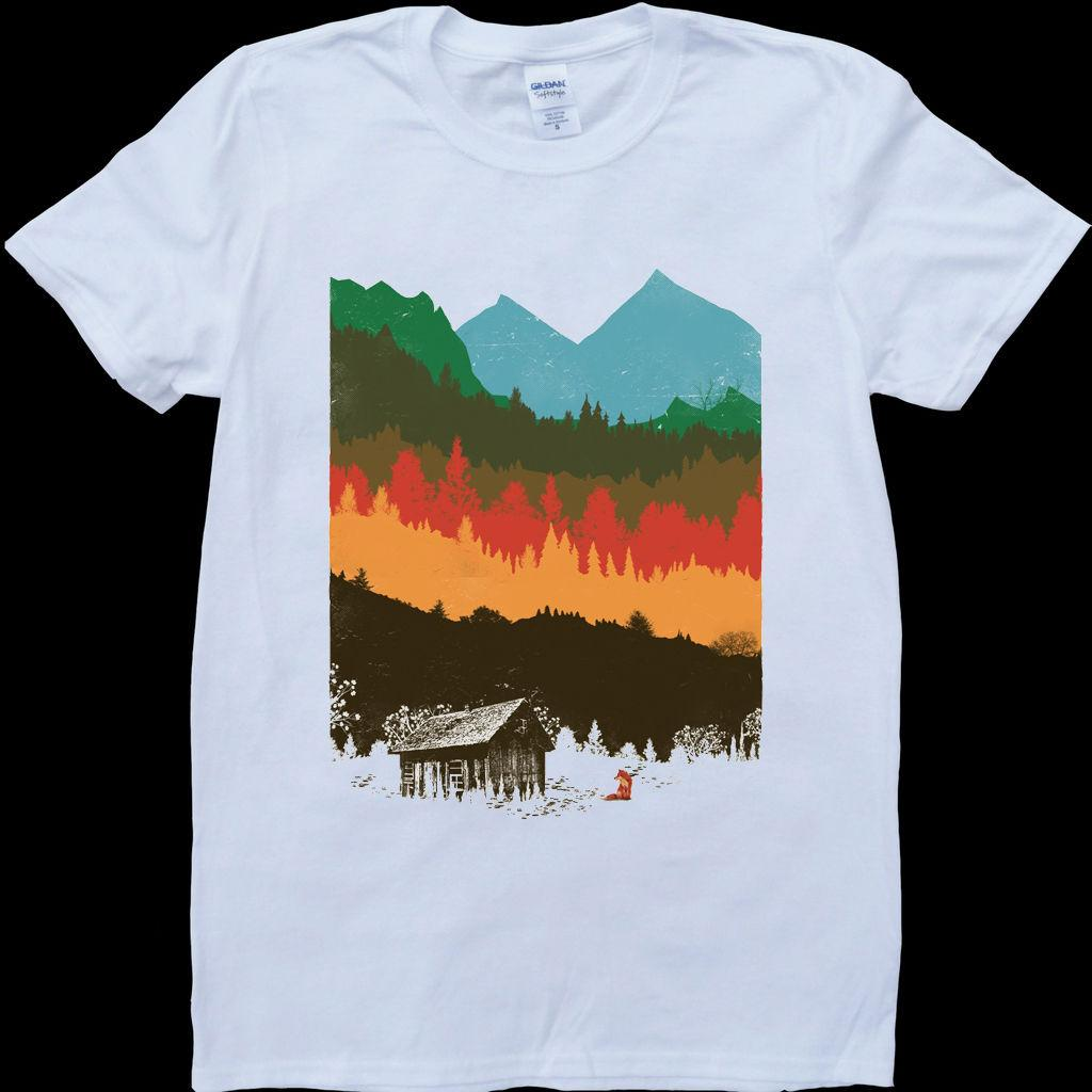 a97f630df Hunting Lodge Mountains Nature Autumn White, Custom Made Men'S T Shirt  Casual Plus Size T Shirts Create Your Own T Shirt Design White T Shirt  Design From ...