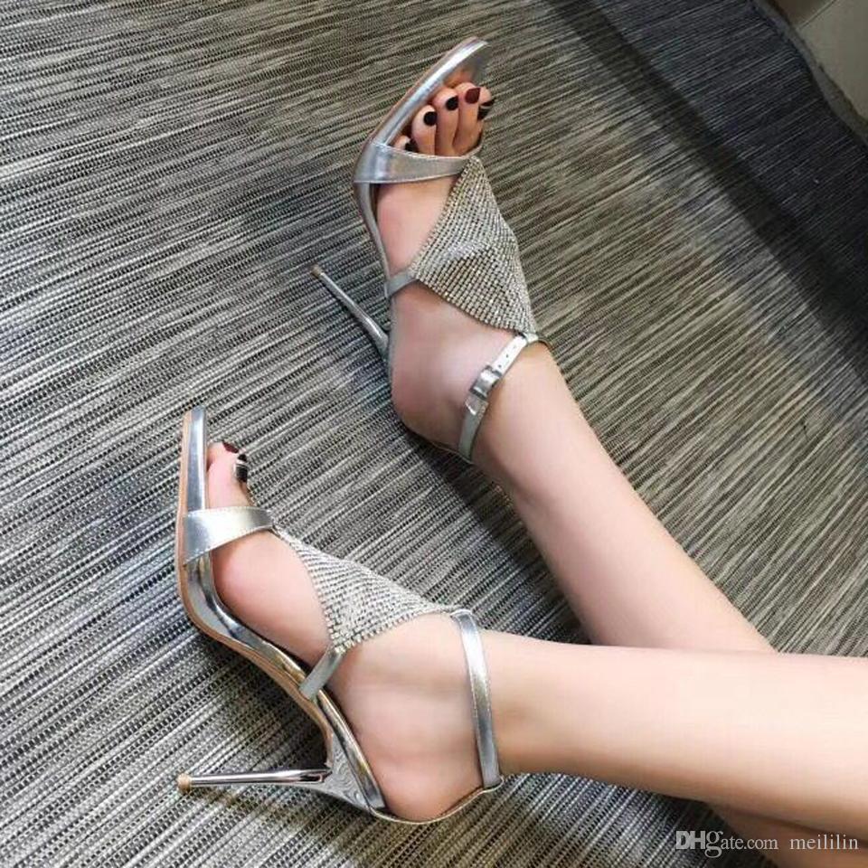 Summer one word buckle black sexy high heel sandals women genuine leather rhinestone platform stiletto peep toe women shoes