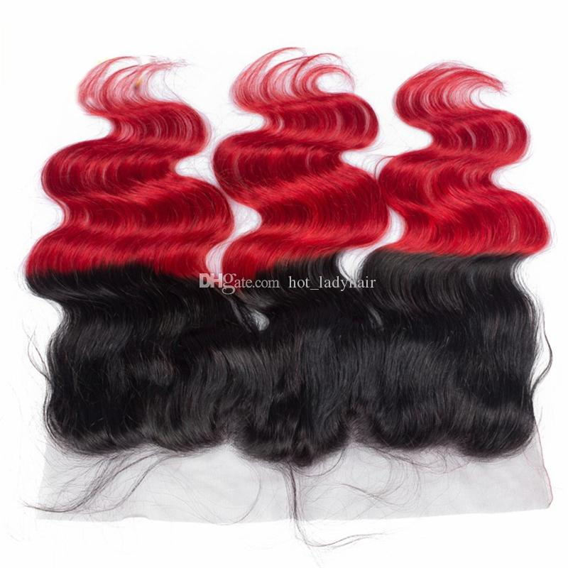 8A Ombre Red Menschenhaar Bundles mit Frontal Schließung Two Tone 1B / Rot Körperwelle Ombre Menschliches Haar spinnt mit Spitze Frontal