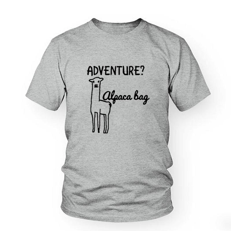 44a8bf180 Women's Tee Cute Alpaca Llama T-shirt Cartoon Graphic Tees Women Tops  Summer 2018 Hipster Funny T Shirts Black White Tee Shirt Femme