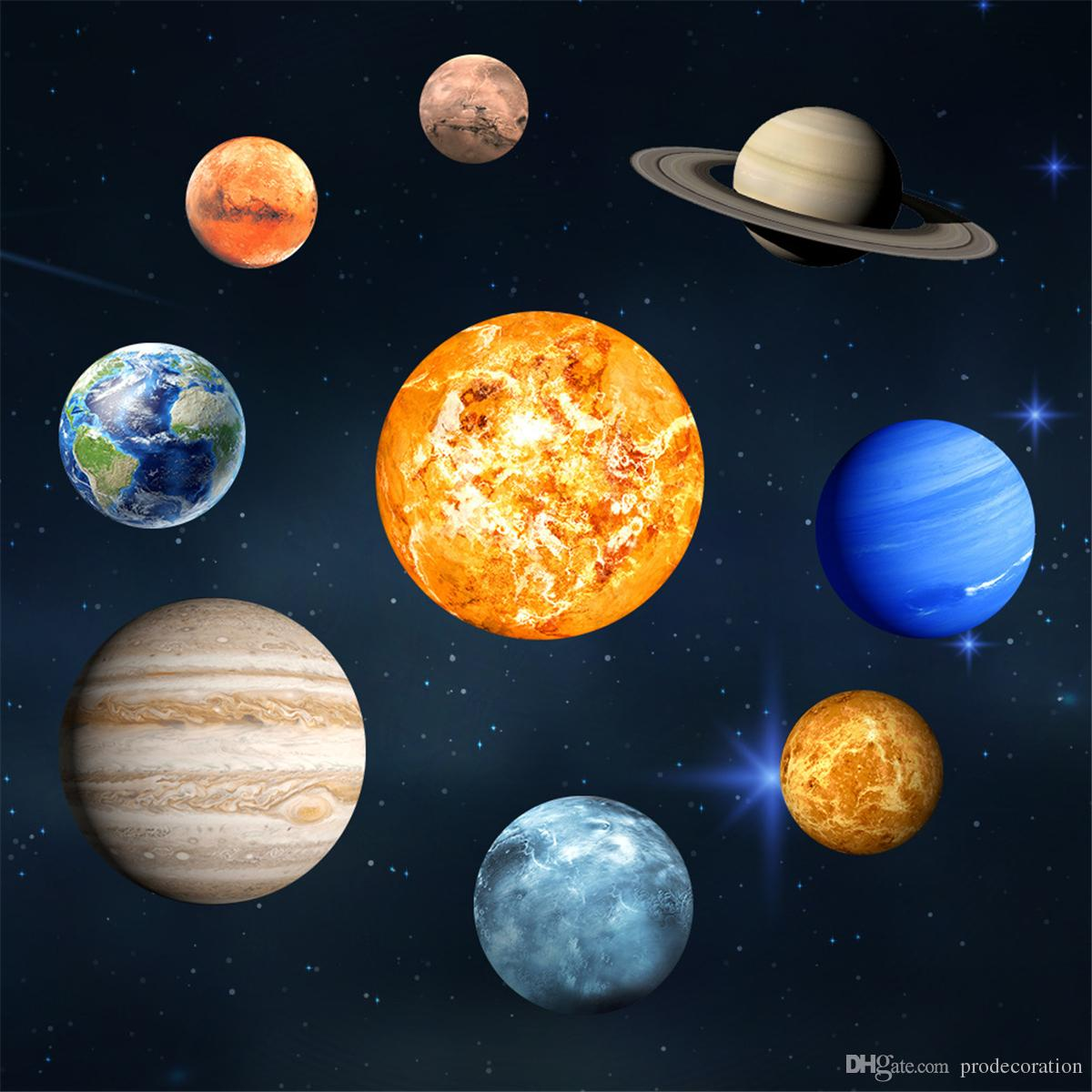 Wall Sticker DIY Planets Fluorescent Removable Glow In The Dark Luminous R Solar System Mural Desktop Wallpaper Wide