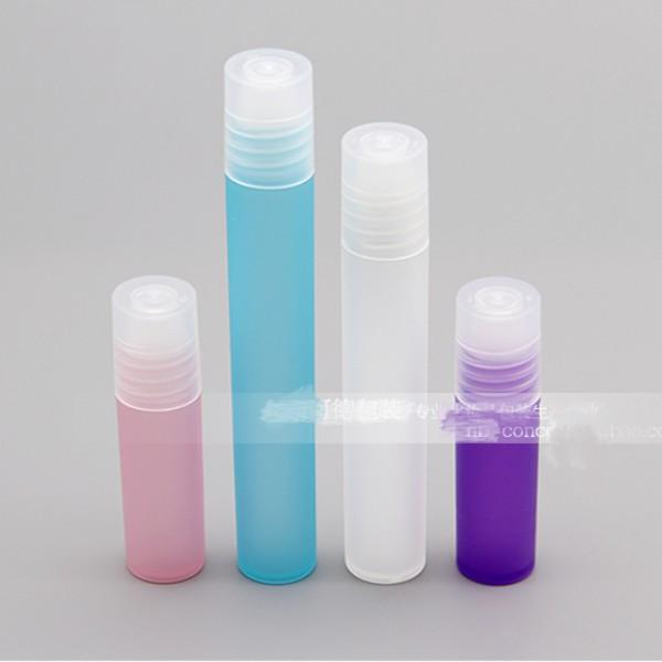 3 5 810ML Mini Gram Size Refillable Roll-On Empty Bottle Frosted Plastic Container Glass Roller Ball Clear Screw Cap Essential Oil Lip Gloss