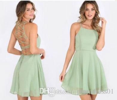 32634cd428 Hot Selling V Neck Short Sage Homecoming Dresses Under 100 Criss Cross Short  Prom Gowns Chiffon Dress Pink Dress Plus Size Prom Dresses From  Promdress01