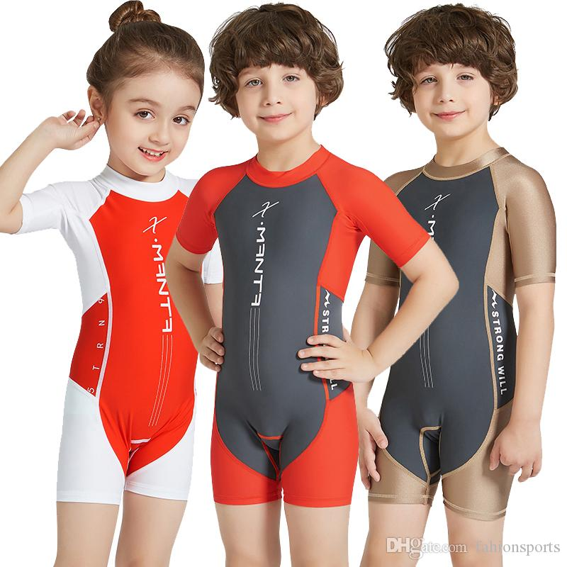 4ccc4cc8d7 Lycra Short Sleeve Wetsuit Kids One Piece Swimsuit for Boys Girls Diving  Bathing Suit Children Swimwear Surfing Rash Guard