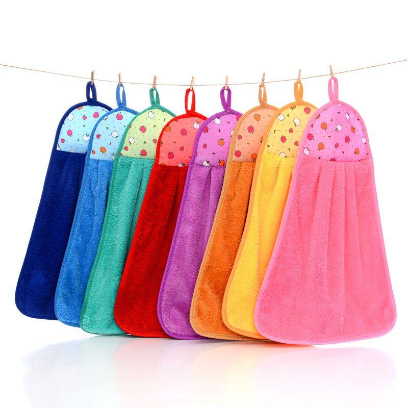 Super Absorbent Microfiber Towels Coral Fleece Hand Towel Hanging