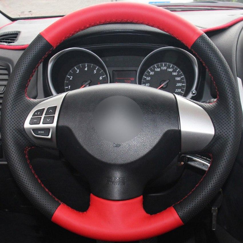 e26d0bae8 Compre Vermelho Preto Couro Genuíno Tampa Do Volante Do Carro Para  Mitsubishi Lancer Ex 10 Lancer X Outlander Asx Potro Pajero Esporte De  Chen331255