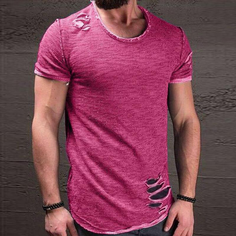 49a4e04b4f3 2018 Fashion Summer Ripped Clothes Men Tee Hole Solid T Shirt Slim Fit O  Neck Short Sleeve Muscle Casual Jersey Tops T Shirts Discounted T Shirts  Tee Shirt ...