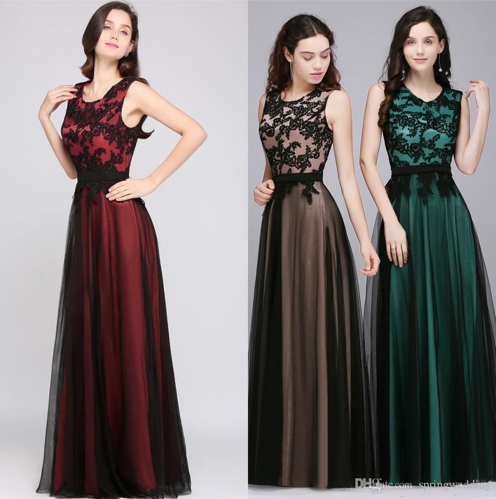 Designed Robe De Soiree Longue Elegant Black Lace Red Evening Dress Long  Cheap Appliques Chiffon Evening Gown Vestido De Festa CPS590 Maxi Prom Dress  ... ee3b5150c