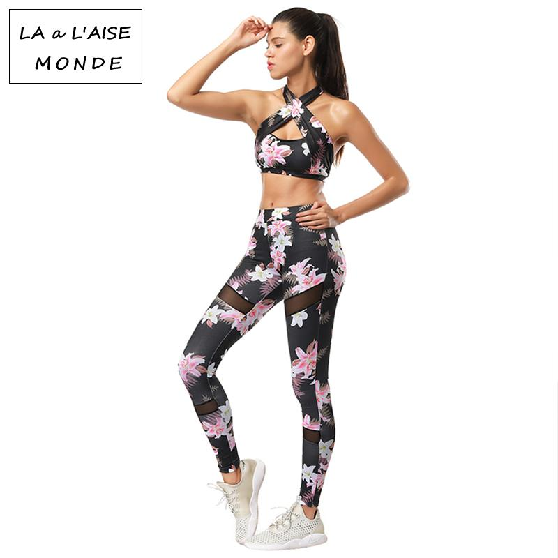 Women Tracksuit Yoga Set Fitness Sport Suit Woman Sportswear Leggings Sports Bra Floral Gym Workout Jogging Kits Costumes