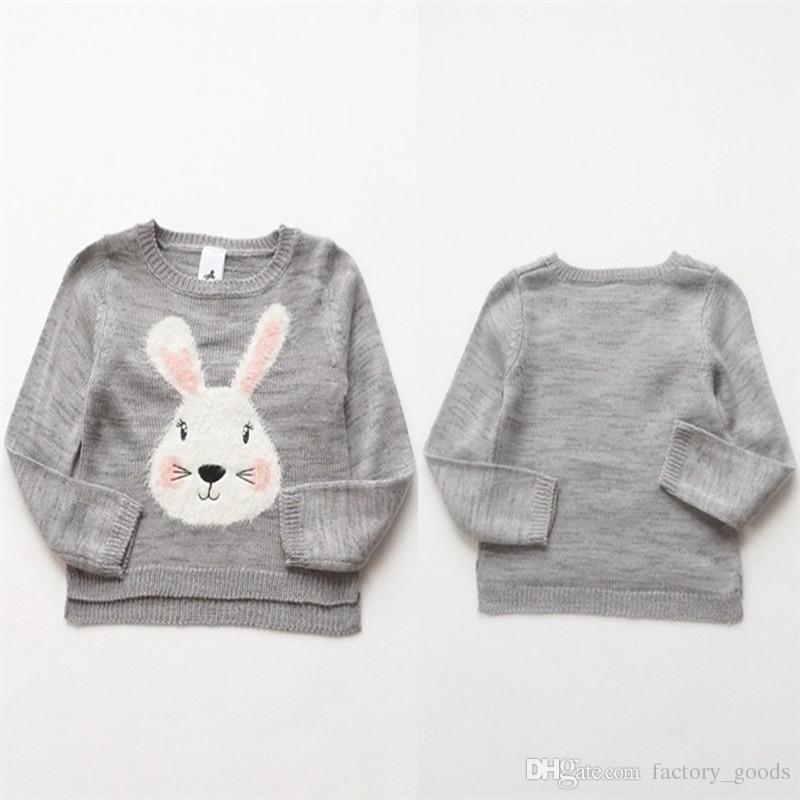 Compre Niñas Suéteres De Punto Lindo Poco Algodón De Conejo Pullover ...
