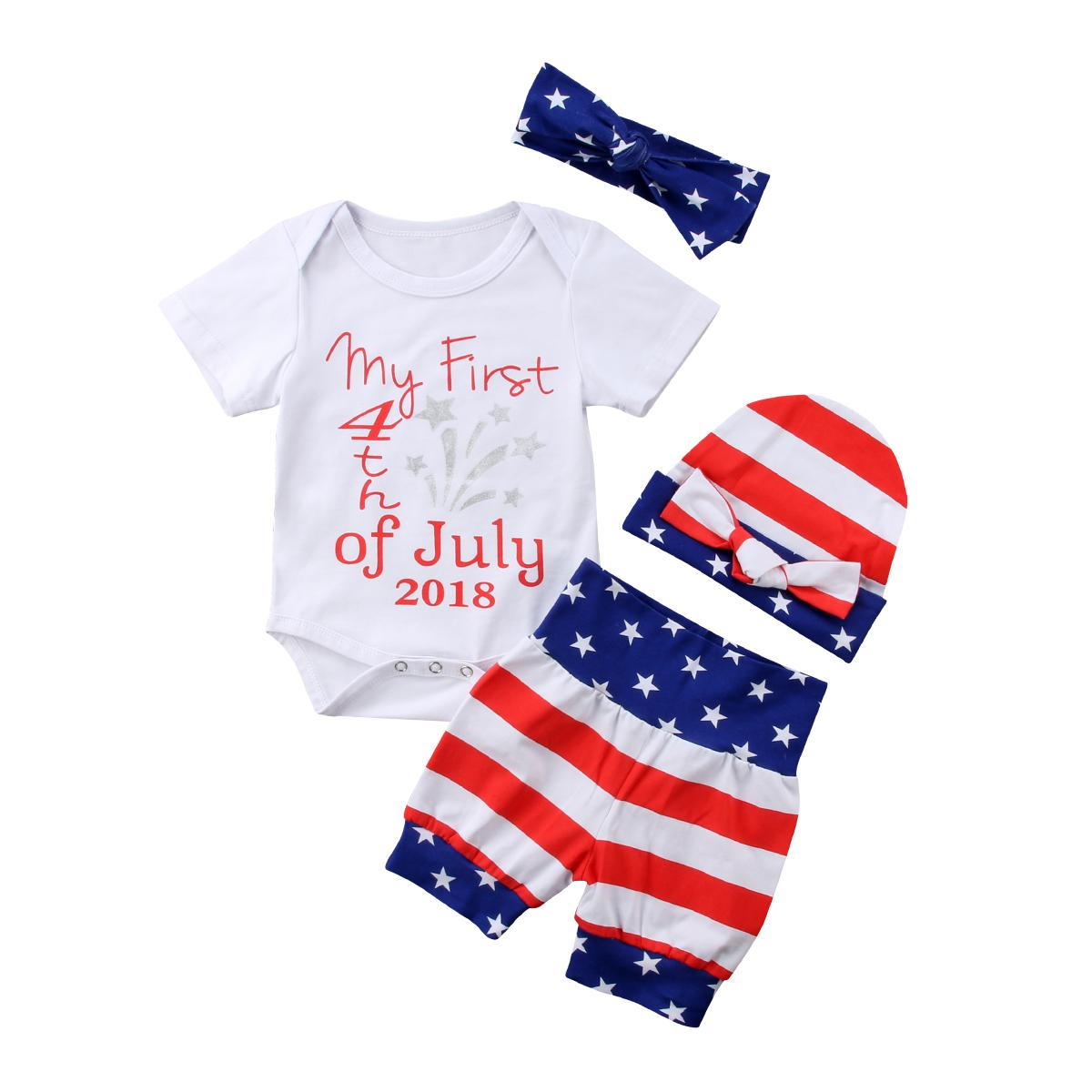 b8e4f1a82a4b Brans New Summer Newborn Baby Girl Clothes Letter My First 4th Of ...