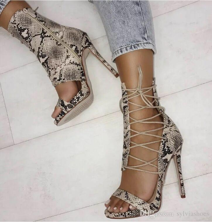2018 Snake Leather Women Sandals Sexy High Heel Women Pumps Summer Party Shoes Ups Zipper Vintage African Women boots Plus Size35-40.