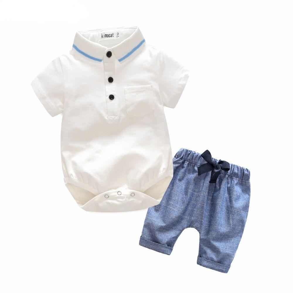 51d53169f662 Fashion Newborn Baby Boy Clothes Short-sleeved White Romper+Pants ...