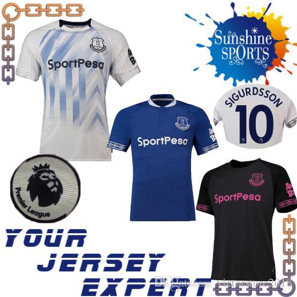 fdbff1490 Everton Soccer Jerseys 18 19 Home Blue Away Black RICHARLISON DIGNE ...