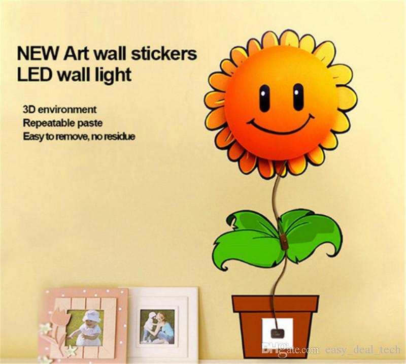 New Removable 3D Wall Sticker LED Night Light Cartoon DIY Wallpaper 3D Cartoon Night light Home Decor Children Room Q0381