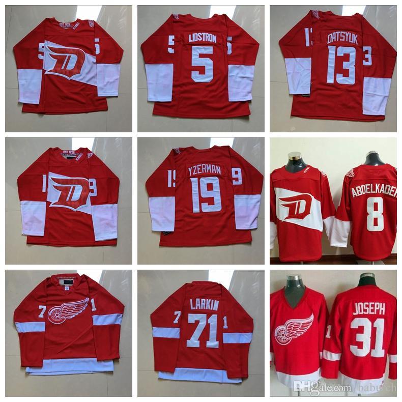 Detroit Red Wings Hockey Jerseys 5 Nicklas Lidstrom 8 Justin ... c7140b23b