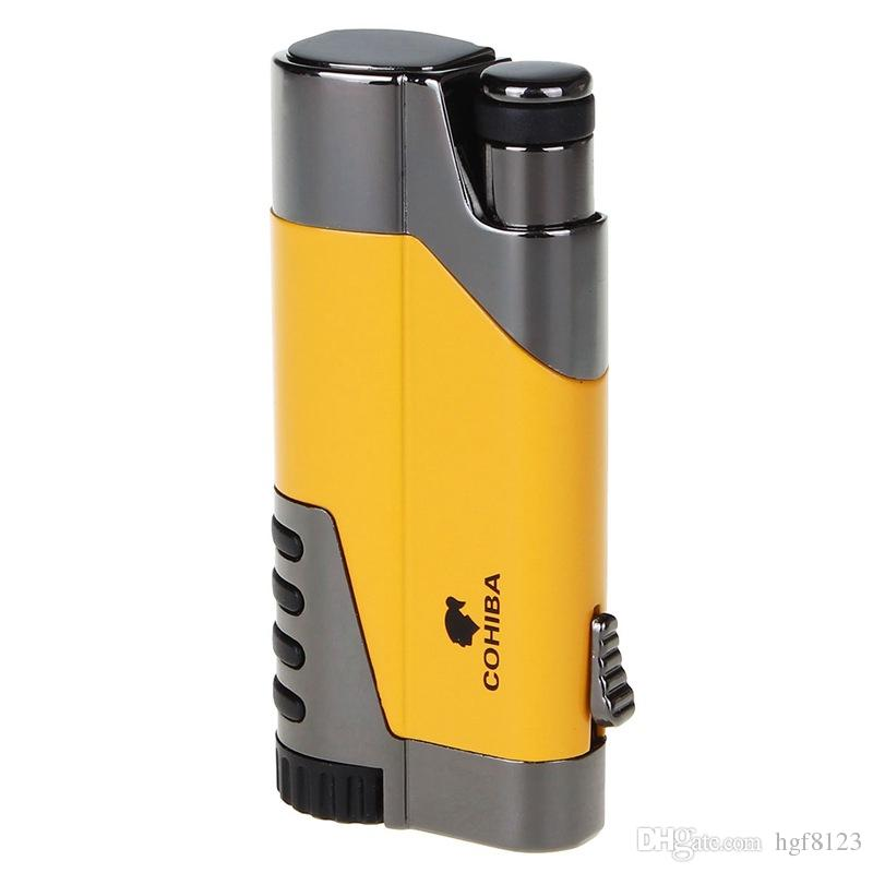 New Arrival COHIBA Metal Cigar Lighters Straight Inflate The pneumatic Lighters Creative Windproof Torch Electronic Cigarette Lighter