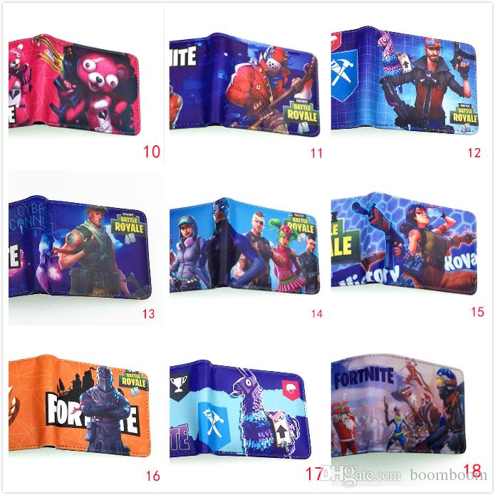 DHL 27 styles Kids Fortnite 3D PU wallet bags 2018 New Children Cartoon game wallet coin purse bag Cartoon Figure Toys Action Toys