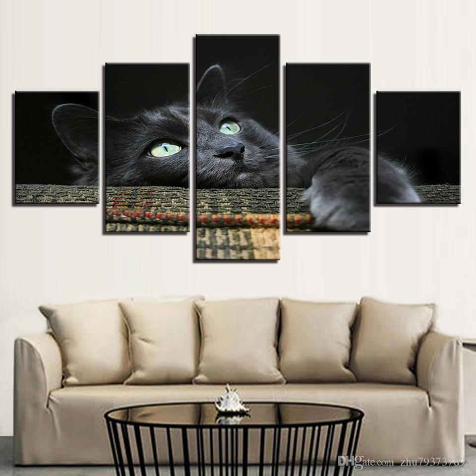 Framework HD Prints Animal Pictures 5 Pieces Wall Art Soft Cuddly Grey Black Cat Poster For Kids Room Home Decor Canvas Painting