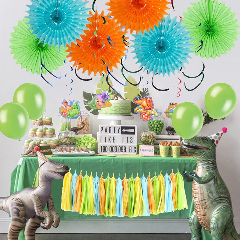 2019 Baby Shower Boy Dinosaur Theme Party Table Decoration Balloon Paper Fan Tassel Banner Kids Birthday Supplies Accessories From Luzhenbao525