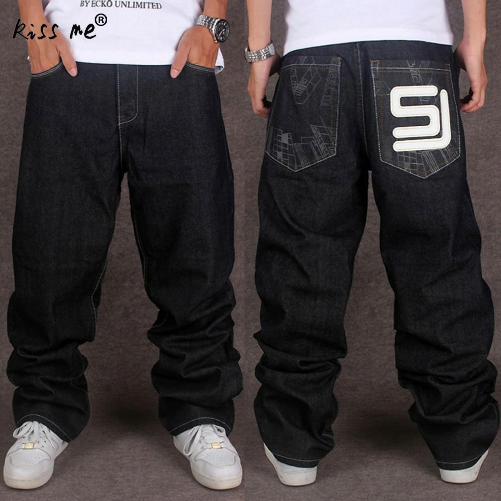 2ec57971 2017 Men's Black Baggy Jeans Hip Hop Design Skateboard Pants loose Style  True HipHop Rap Jeans Boy