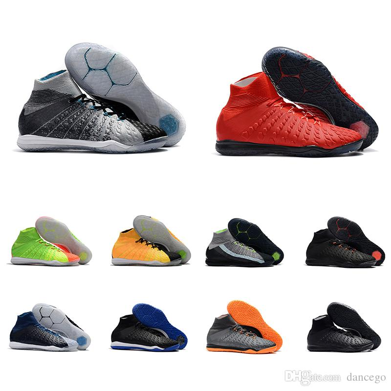 big sale 4025d 388a6 2018 new soccer shoes for men Hypervenom X Proximo II DF IC grey/black  red/green mens indoor football trainning shoes