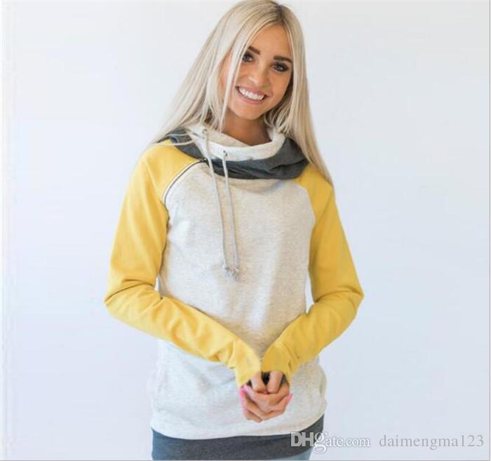 10 unids es de doble color de la cremallera de costura sudaderas con capucha mujeres remiendo de manga larga suéter de las mujeres del invierno sudaderas Jumper tops M134