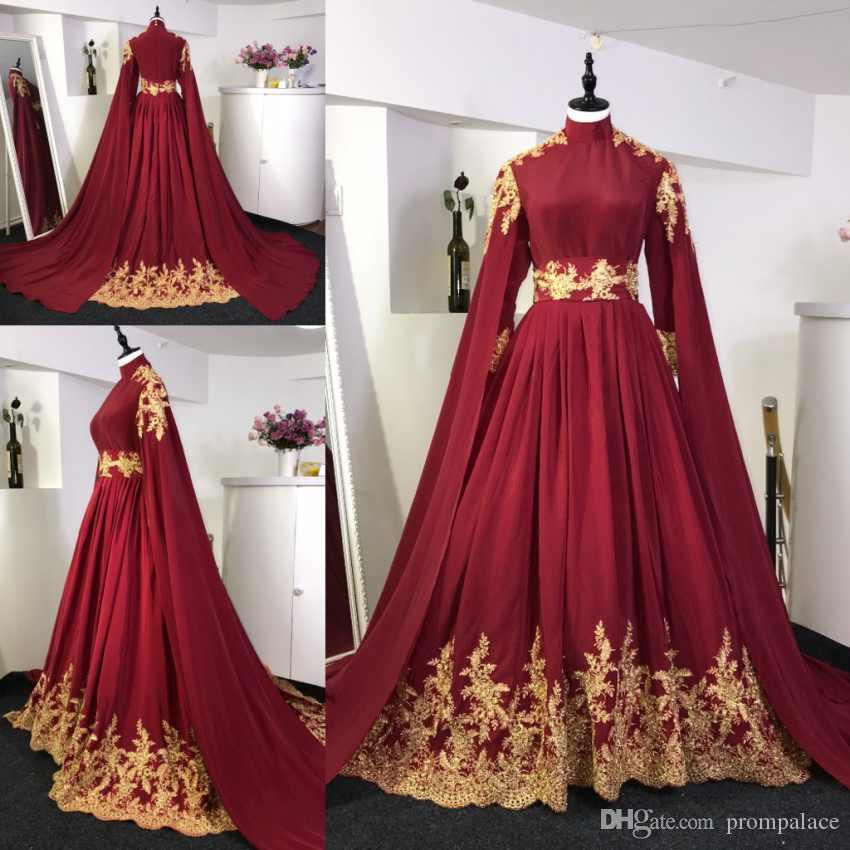 e809eb1fd38 Discount Newest Long Sleeves Burgundy Wedding Dresses Red Gold Lace Sweep  Train Arabic Muslim Wedding Bride Gowns With Veil Real Photos Second Hand  Wedding ...