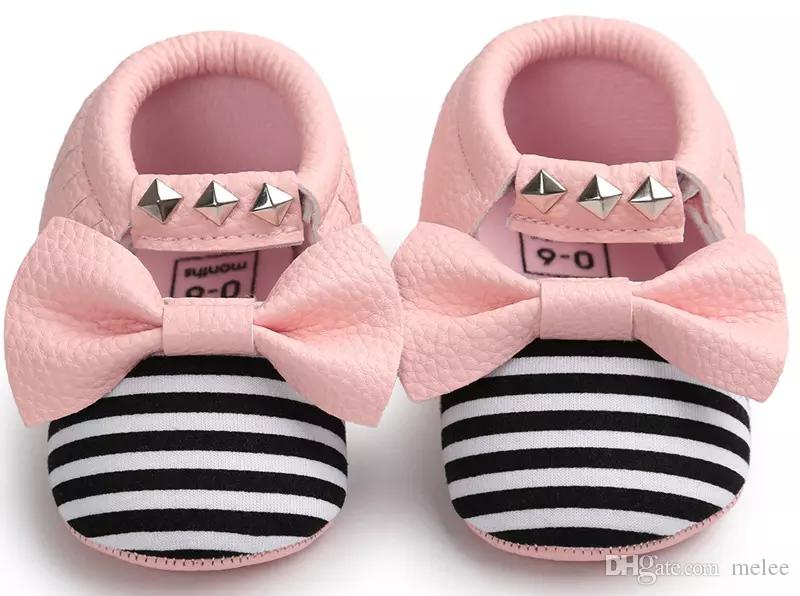 New No Lead Included Newest Baby girl Moccasins Soft Bottom Butterfly-knot Bow stripe Moccs Baby girls Diamond Shoes Tassels Baby Shoes