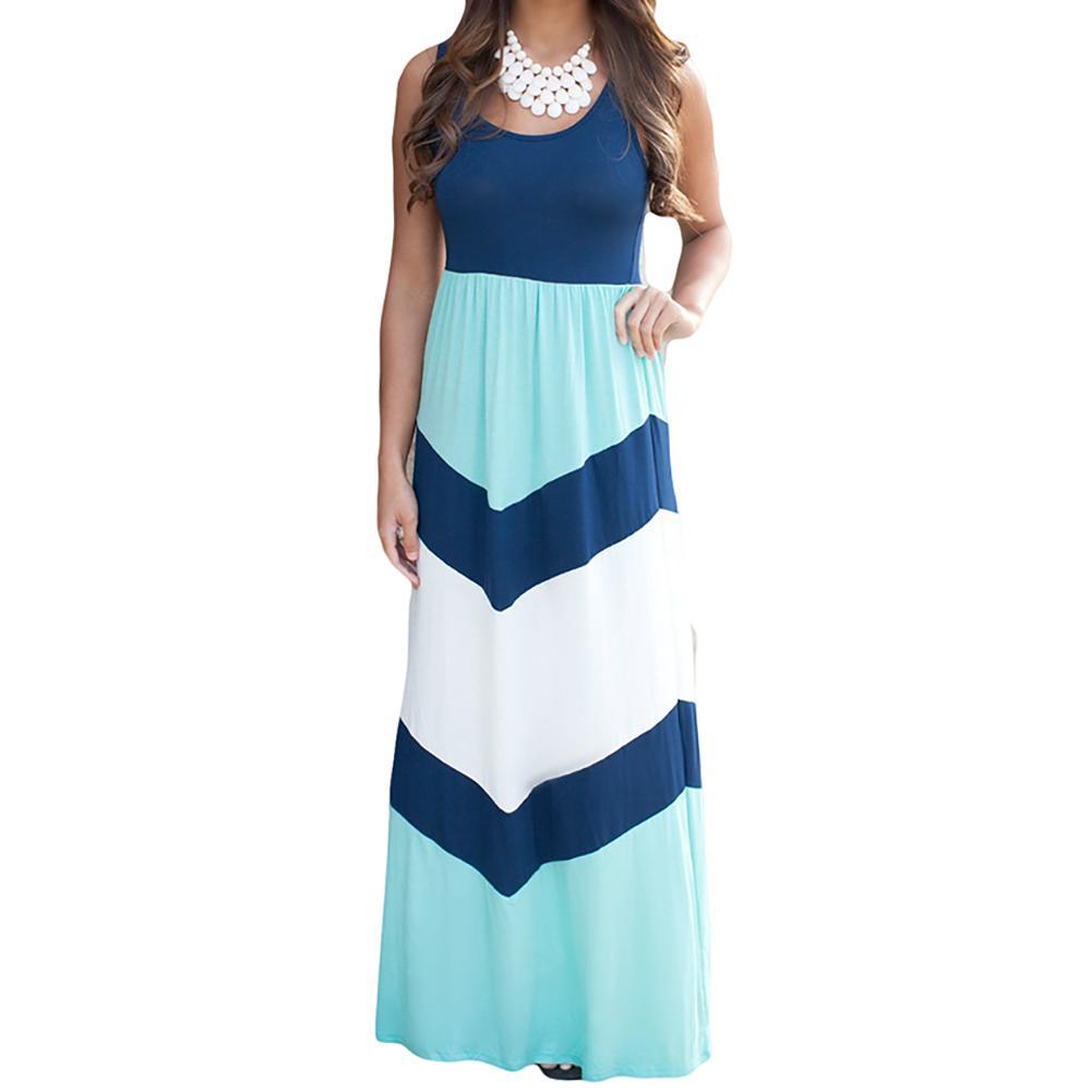 ba3fbc6799 2019 Women Summer Beach Boho Maxi Dress 2018 High Quality Brand Striped  Print Long Dresses Feminine Plus Size From Silan, $22.75   DHgate.Com