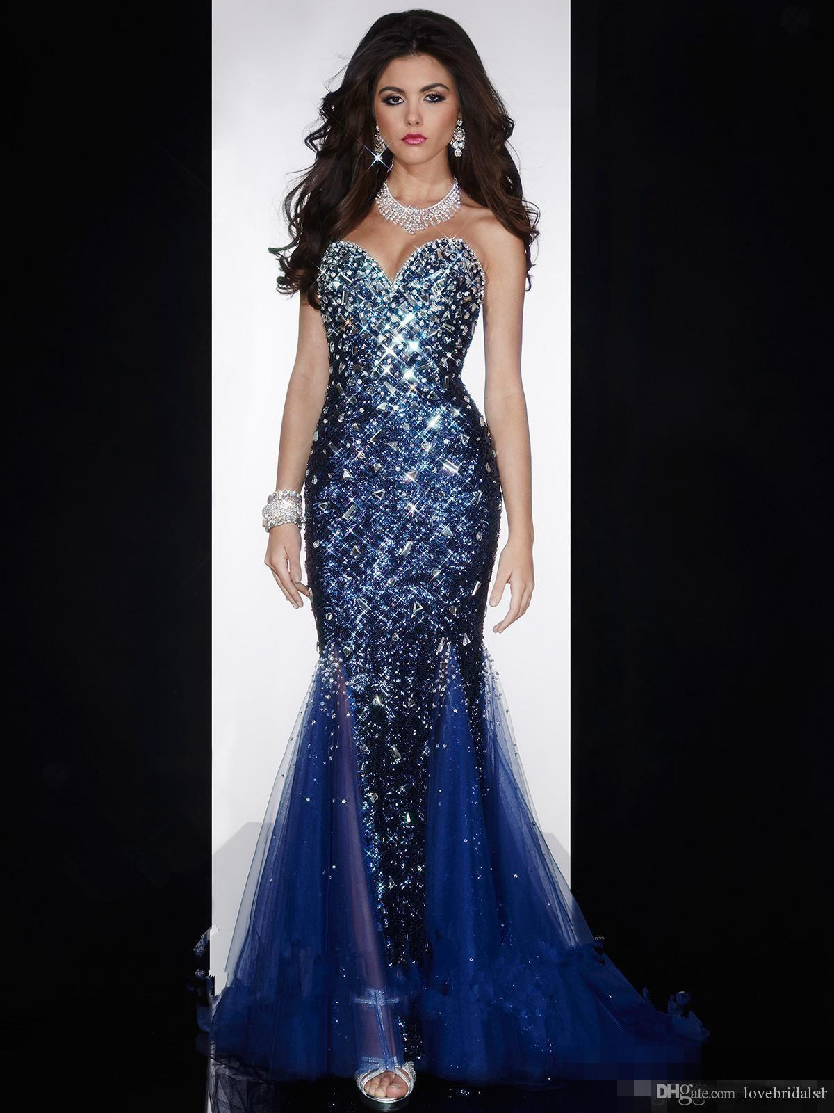 Gorgeous Crystal beaded Mermaid Sweetheart Long Prom Dresses Open Back Sequined Diamond Royal Blue Formal Evening Dresses