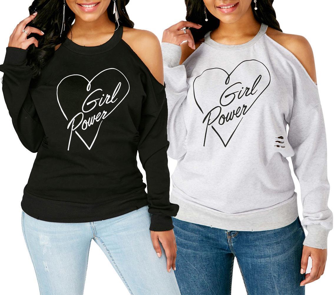 621cc99ad5dc Camiseta de mujer otoño invierno ropa interior moda sexy carta de corazón  de las mujeres impresa fuera del hombro camisa de manga larga cuello ...