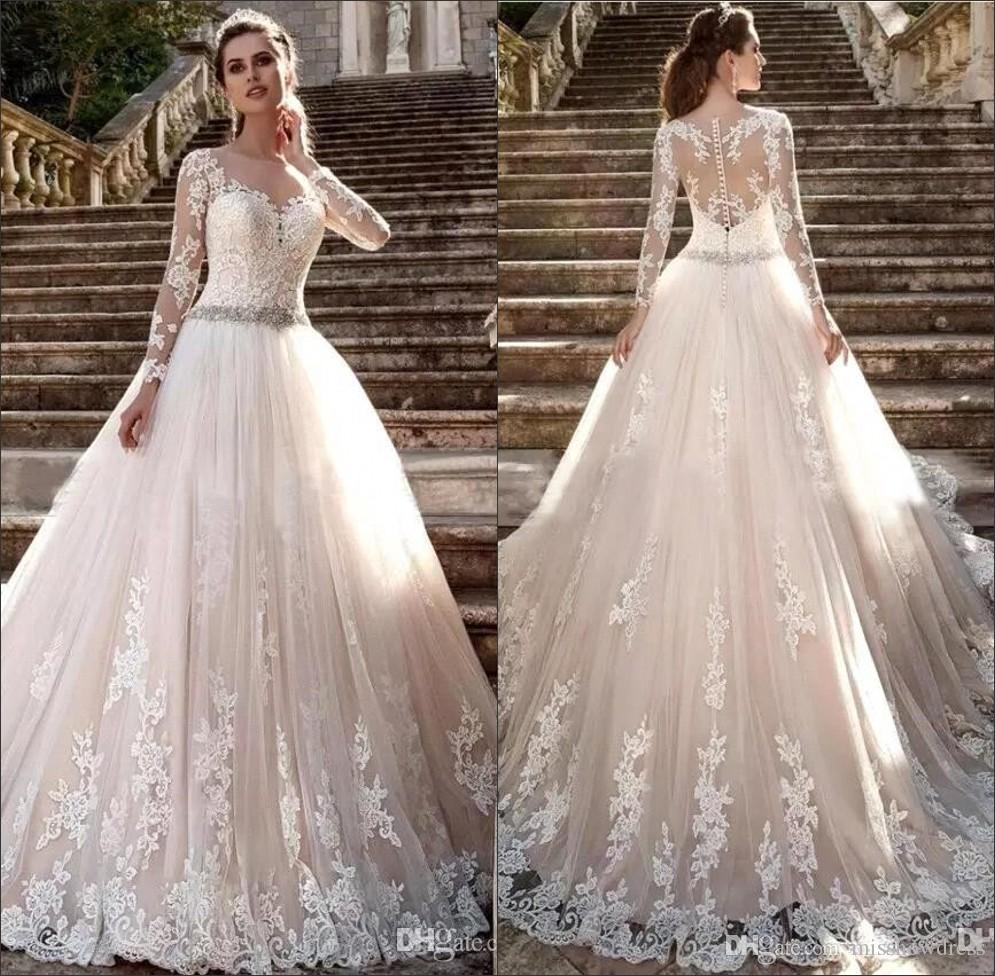 2018 Long Sleeves Lace Wedding Dresses Elegant Tulle Applique Beaded Sash Sweep Train Wedding Bridal Gowns With Buttons Ba6023