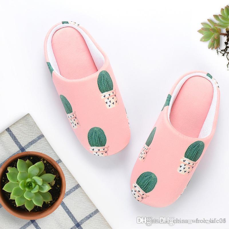 Mujer Impreso Mute Suave Algodón Para Damas Cactus Deslizador De Inicio Antideslizante Invierno Femeninas Zapatos Zapatillas Interior ZuTwXlPkOi