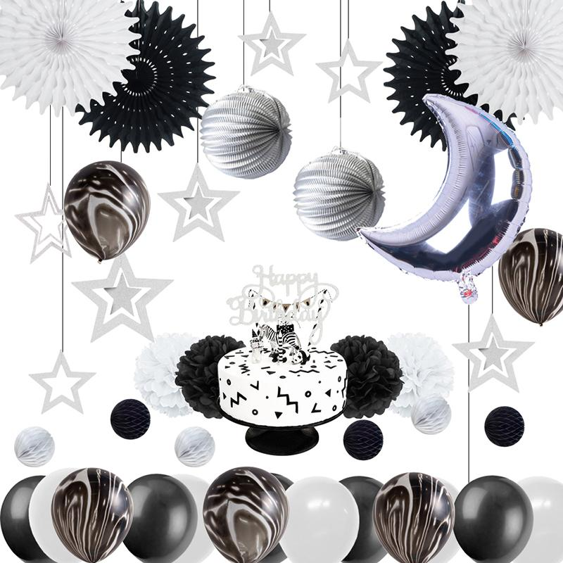 2019 Baby Shower First 1st Birthday Party Decorations Monochromatic Space Craft Supplies Black White Marble Balloon For Favors From Garden1122